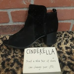 Gianni Bini Peep Toe Soft Black Suede Ankle Boots